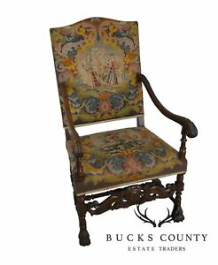 Antique 1920 S French Louis Xiii Style Claw Foot Needlepoint Throne Arm Chair