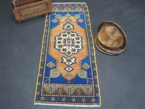 Free Shipping Vintage Handmade Turkish Oushak Small Runners Rug Size 48x18 Inch