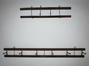 2 Vintage Wood Wall Mount Coat Hat Rack 34 And 20 8 Hooks Total Unique