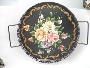 Vintage 12 Round Tole Ware Floral Serving Tray Hand Painted Folk Americana