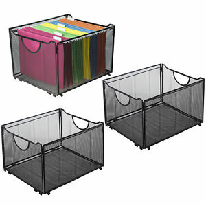Set Of 3 Black Metal Mesh Collapsible File Folder Boxes Office Storage Crate