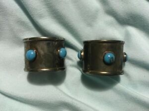 Vintage Silver Plated Napkin Ring Pair Blue Turquoise Style Accents