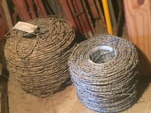 Fencing Supplies 2 Rolls Barbed Wire 10 7 Ft T posts And 20 Round Posts