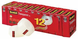 12 Rolls Business Scotch Transparent Tape Clear Finish Cuts Cleanly 3 4 X 1000