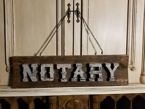 Notary Wooden Hand Carved And Painted Sign Primitive Farmhouse Americana