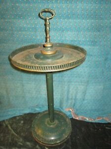 Tole Toleware Hand Painted Tray On Stand Vintage Antique