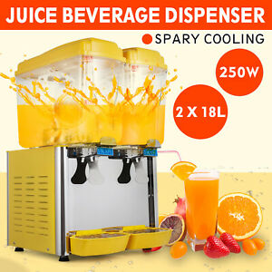 9 5 Ga Cold Juice Beverage Dispenser Ice Tea Refrigerated Commerical 2x18l