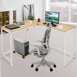 L shaped Corner Computer Desk Home Office Sturdy Smooth Tabletop Footrest