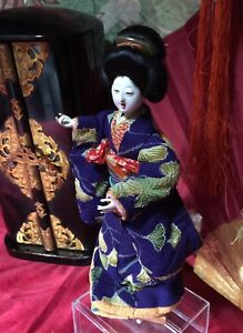 Early Geisha Exc Quality Open Mouth Hi Sheen Gofun Kanzashi Fabulous Kimono