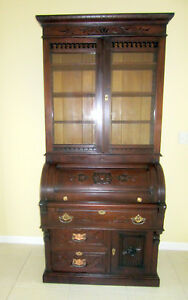 Beautiful Antique Walnut Secretary Cylinder Desk Circa 1890 Recently Refinished