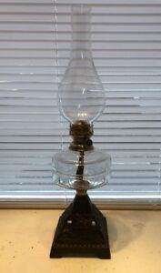 Antique Victorian Falks Oil Lamp With Clear Glass Font And Cast Iron Base