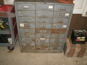 Cole Steel Vintage Industrial 27 Drawer Metal Cabinet Gray 16 Deep Drawers