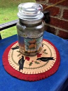 Penny Rug Stitchery Table Cloth Candle What Not Antique Primitive Santa Crow