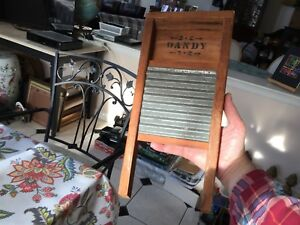 Vintage Small Dandy Metal Wood Washboard Nice 15 1 4 Inches Tall