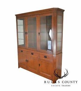 Stickley 21st Century Collection Cherry Inlaid China Cabinet Breakfront