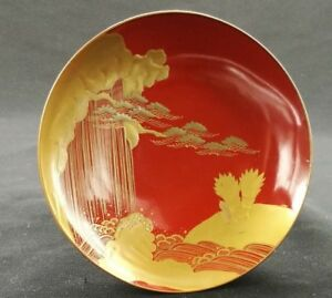 Japanese Lacquer Ware Wood Sake Cup Vtg Red Gold Makie