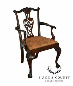 Chippendale Style Carved Mahogany Ball Claw Arm Chair