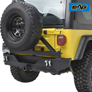 Eag Rear Bumper W Tire Carrier Hitch Receiver Steel Fits 87 06 Jeep Yj Tj