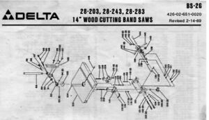 Delta 14 Bandsaw 1989 Parts Diagram Pdf
