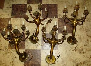 Set Of 4 Vtg Antique 5 Arm Candelabra Brass Wall Sconces As Is Project J97