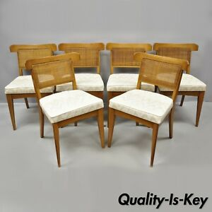 Set 6 Curved Cane Back Walnut Mid Century Modern Dining Chairs Tomlinson Style