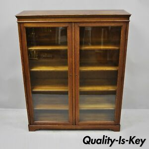 Antique Golden Oak Wood Glass Two Door Small Mission Bookcase Curio Cabinet