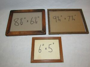 3 Vintage Wood Frames With Glass Wall Picture Small Painting Photo Art