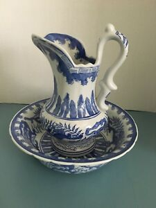 Chinese Blue White Pitcher And Bowl Dragon