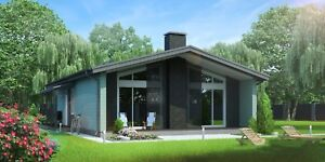 Timber Frame House Kit Engineered Wood Prefab Diy Building Cabin Home 1409 Sq ft