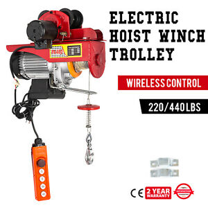 Electric Wire Rope Hoist W Trolley 220lb 440lb 600w 110v Durable