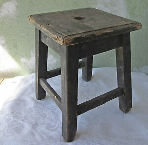 Old Antique Primitive Wooden Milking Stool Chair Old Paint Patina