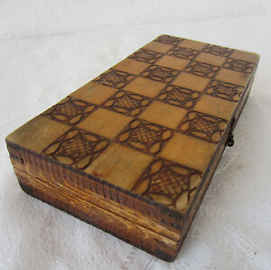 6 Antique Vintage Checkerboard Game Box Pokerwork Wooden Chess Board