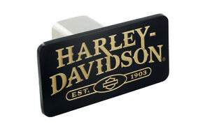 Harley Davidson Wordmark With Bar Shield Black Finish Metal Hitch Cover