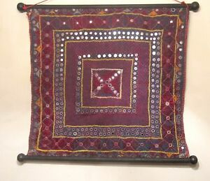 Antique Original Hand Sewn Needlepoint Embroidered Wall Tapestry Wood Scroll