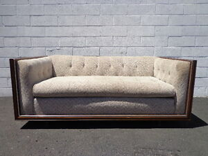 Chesterfield Loveseat Fabric Mid Century Modern Sofa Couch Rustic Lounge Seating