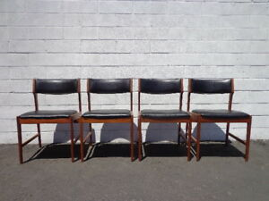 4 Dining Chairs Set Of Mid Century Modern Seating Teak Wood Mcm Danish Mod Eames