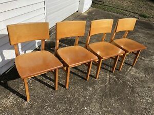 4 Chairs Mid Century Library Edition Myrtle Desk Co High Pointe N C