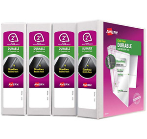 Avery Durable View Binder 2 Slant Rings 4 pack white free Fast Shipping