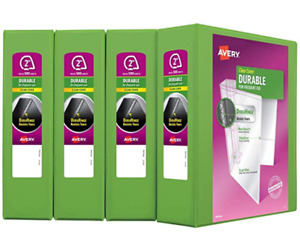 Avery Durable View Binder 2 Slant Rings 4 pack green free Fast Shipping