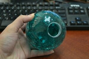 Reproduction Turquoise Hand Blown Glass Float Ball Buoy 4 F 506ch