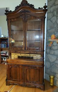 Antique Rococo Revival Carved Rosewood Drop Front Secretary By Thomas Brooks