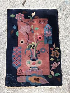 Antique Art Deco Chinese Rug In Great Condition 2 X 4