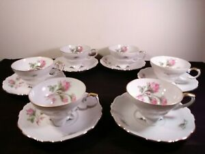 Tea Cup Saucer Set Of 6 Edelstein Bavaria Maria Theresia Pink Roses 16793
