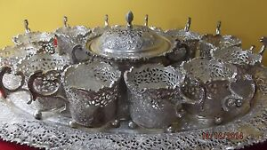 Hand Crafted Persian Sterling Silver 90 Tea Set 14 Picece Marked 90 Navaea