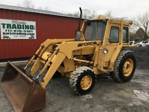 1994 Ford 345d 4x4 Utility Tractor W Cab Loader 3pt Pto Only 1400 Hours