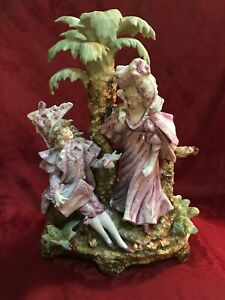 Large German Majolica Figurine Couple Under Palm Tree Finely Detailed