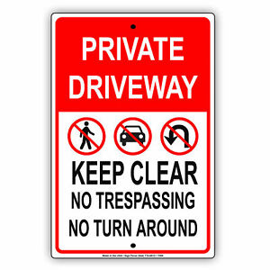 Private Driveway Keep Clear No Turn Novelty Wall Art Decor Aluminum Metal Sign
