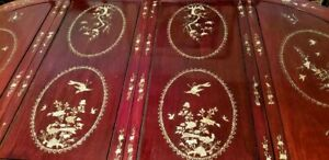Gorgeous Rosewood Chippendale Dining Room Table Seats 8 Mother Of Pearl Inlaid