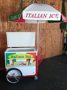 New Italian Ice Cart W umbrella Graphics Water Ice Vendor Concession