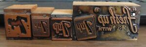 Vintage Printing Letterpress Printers Block Lot Of 4 7 Up 7up Soda Pop